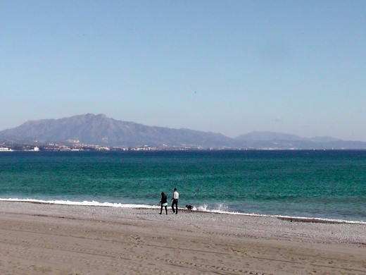 A beach in Manilva in December