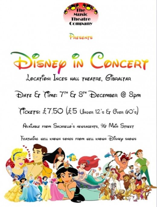 Disney in Concert at Inces Hall Theatre Gibraltar on 7th and 8th December