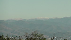 Snow capped mountains seen from Manilva, Costa del Sol, Southern Spain