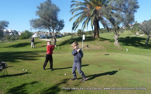 Learning to play golf at La Duquesa Golf Club