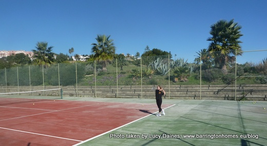 Playing tennis at La Duquesa Golf Club