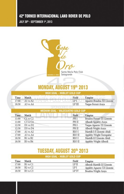 Sotogrande Polo Timetable