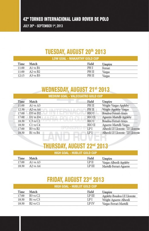 Sotogrande Polo Tournament - Gold Cup Timetable