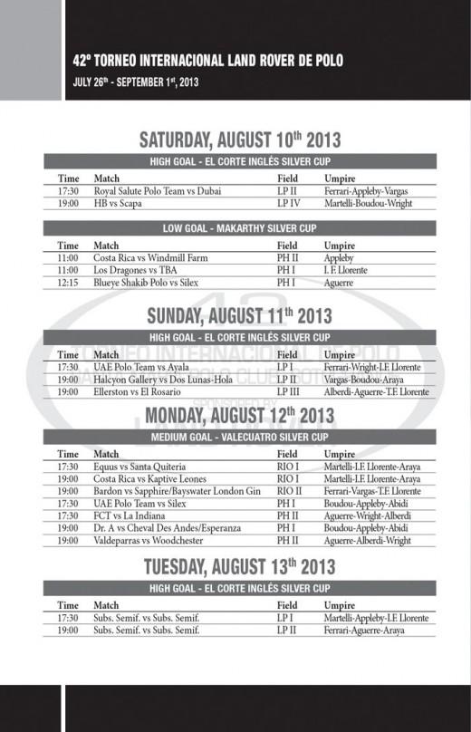Sotogrande Polo - silver cup timetable