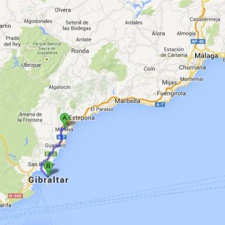 from Manilva to Gibraltar