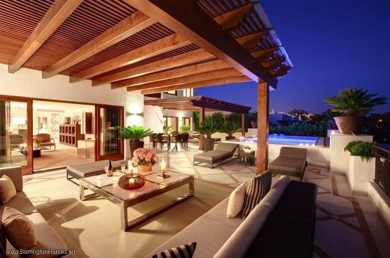 1, 2 & 3 Bedroom Apartments, Doncella Beach, Estepona. Terrace at night, Doncella Beach, Estepona