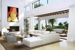 Model B - 86 m2 living room with fireplace and double high ceiling.